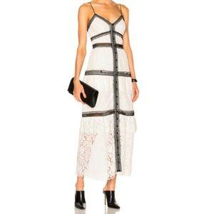 SELF-PORTRAIT Lace Trim Maxi Dress